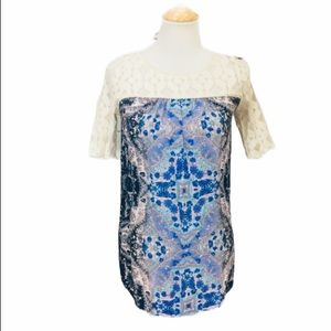 ANTHROPOLOGIE Lace and Floral Maite Tunic Top